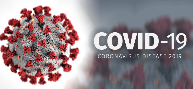 COVID-19 with image of the virus